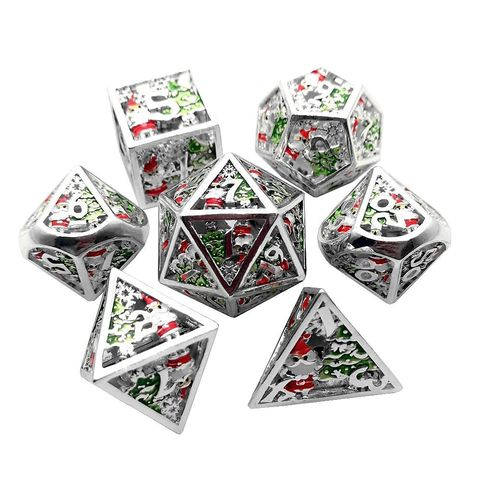 *PRE-ORDER* Metal Winter Holliday Santa 7-Dice Set (silver)