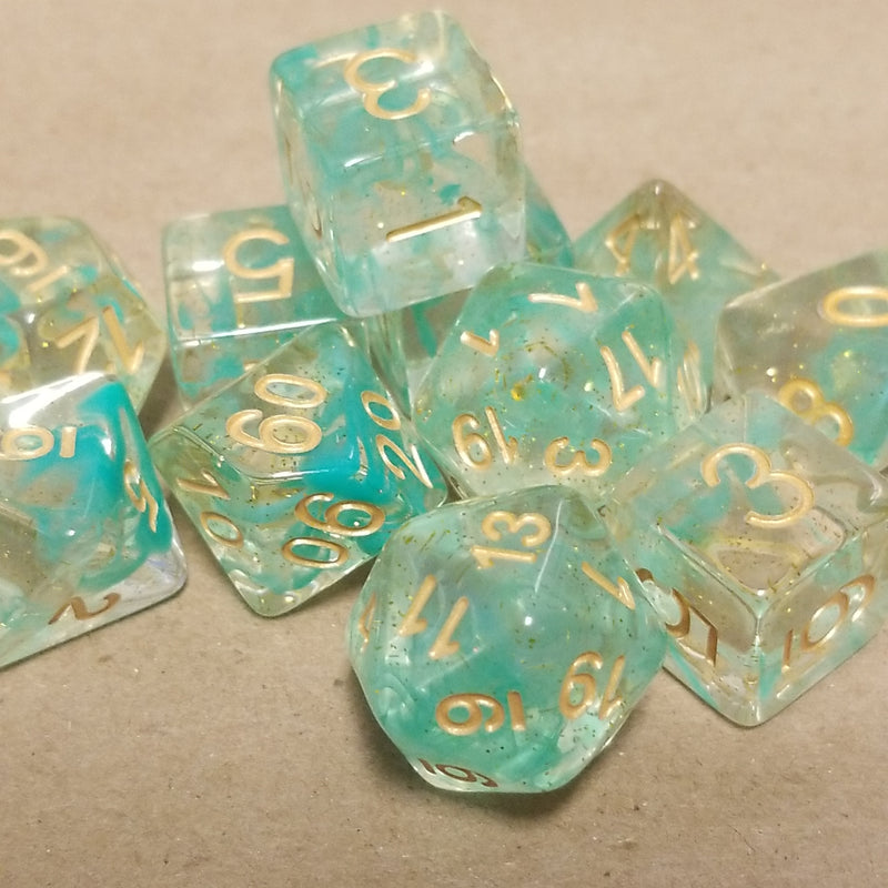 Clear Green Swirl w/ Gold Numbering  11-Dice Set
