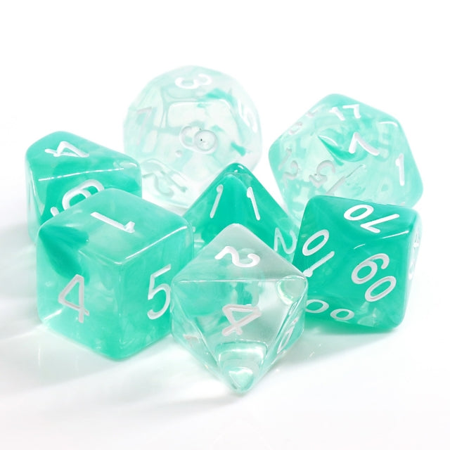 Lake Teal Swirl with White Numbering 7-Dice Set RPG