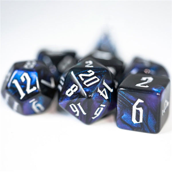 Glitter Party Black Glitter Dice (White font) 7-Dice Set