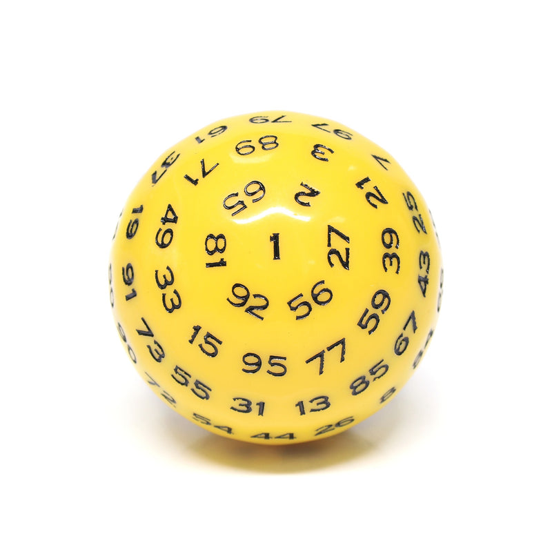 """Yellow"" Single 100 Sided Polyhedral Dice (D100) 