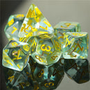 Cleric (Mace) Clear/yellow Dice w/ Golden Mace 7-Dice Set Rpg