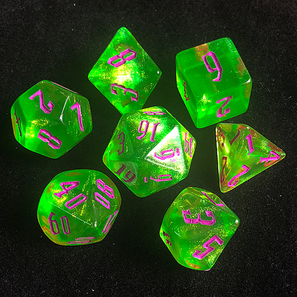'Glitter Party' Green Glitter Dice (Purple font)