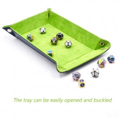 Green/ Blue Velvet PU Leather Folding Rectangle Dice Tray
