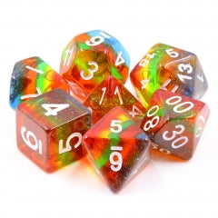 Translucent Glitter Rainbow 7-Dice Set with White Numbers