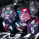 Glitter Party Red/Purple/Blue Glitter Dice (White font) 7-Dice Set