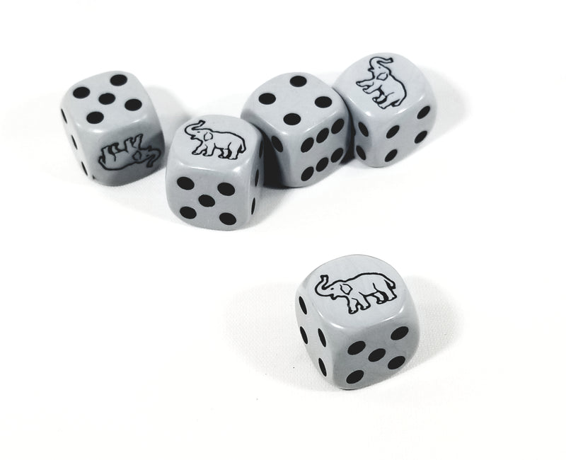 Grey Elephant Dice 16mm D6 Koplow Dice - Grey with Black