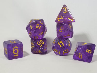 Iridescence Deep Glitter Purple Poly Dice Set with Gold (7) RPG DnD HdDice