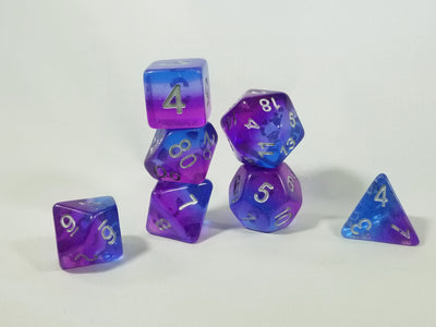 Purple & Blue Translucent Glitter Aurora Poly Dice Set (7) New Silver Numbers RPG DnD