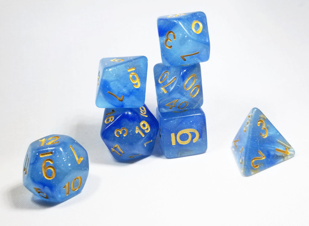 Iridescence Deep Glitter Blue Poly Dice Set with Gold (7) RPG DnD HdDice
