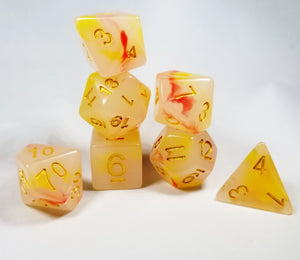 Opalescence Yellow Orange Red Poly Dice Set (7) Acrylic Gold Numbers HDdice Semi-Translucent