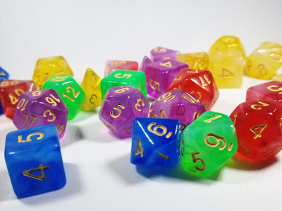 Milky 7-Dice Set Translucent w/Swirls and Gold Numbers by HDdice Red, Yellow, Green, Blue, and Purple
