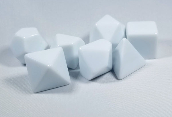 White Blank 7-Dice Set d4, d6, d8, d10, d12, d20 for Customization Ready DIY HDdice