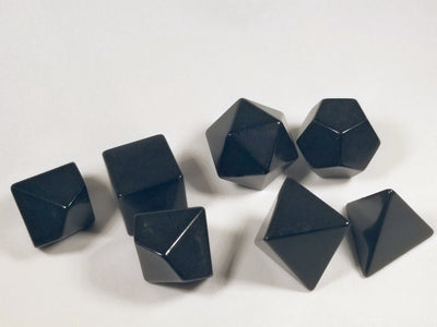 Black Blank 7-Dice Set d4, d6, d8, d10, d12, d20 for Customization Ready DIY HDdice
