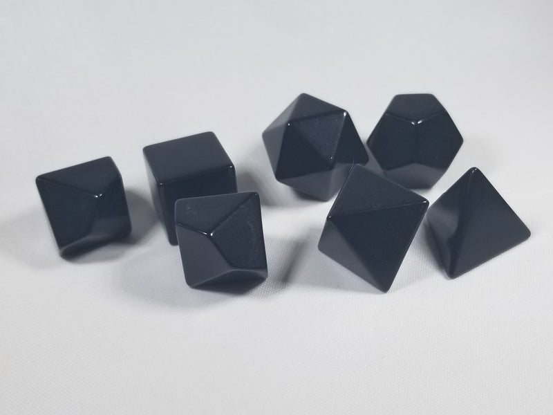 Black Blank 7-Dice Set d4, d6, d8, d10, d12, d20 for Customization Ready DIY Bescon