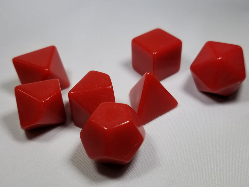 Red Blank 7-Dice Set d4, d6, d8, d10, d12, d20 for Customization Ready DIY HDdice