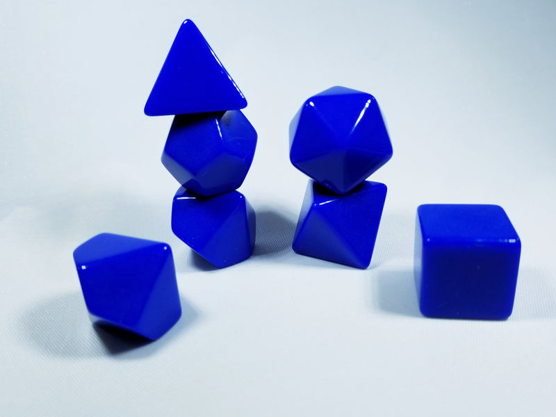 Blue Blank 7-Dice Set d4, d6, d8, d10, d12, d20 for Customization Ready DIY Bescon