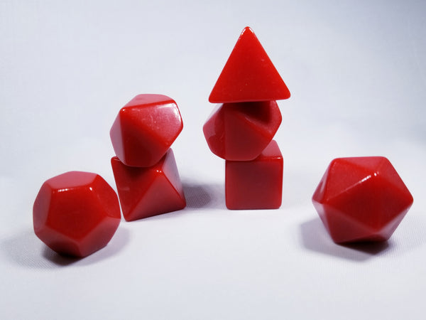 Red Blank 7-Dice Set d4, d6, d8, d10, d12, d20 for Customization Ready DIY Bescon