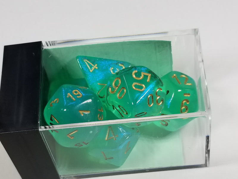 CHX 27425 Polyhedral 7-Die Borealis Light Green w/ Gold Numbers Set Of 7 Dice Chessex