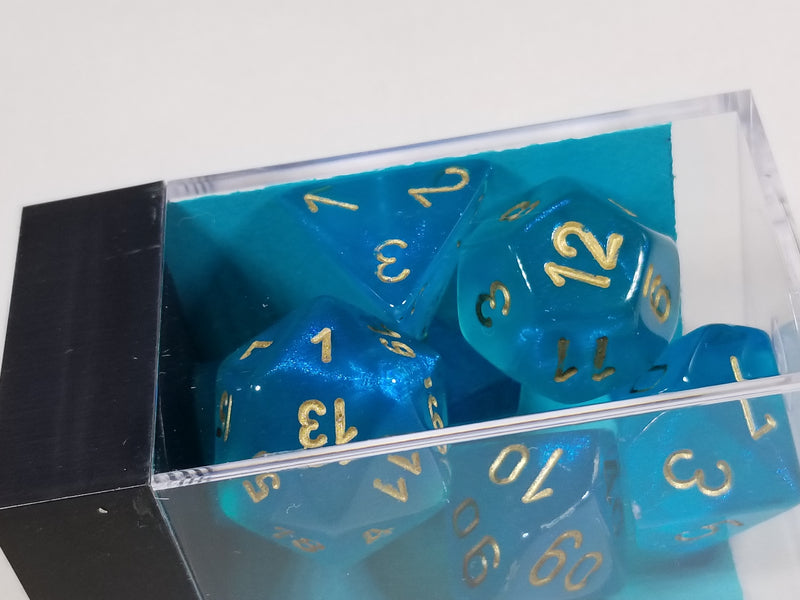CHX 27486 Polyhedral 7-Die Borealis Teal w/ Gold Numbers Set Of 7 Dice Chessex