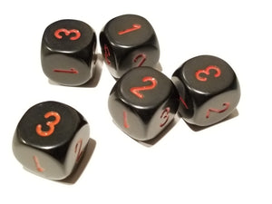 Opaque 16mm d3 (d6 w/1-2-3 twice) Black/red