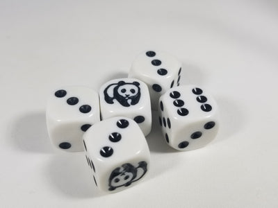 Panda Dice Six Sided D6 16mm White with Black Pips