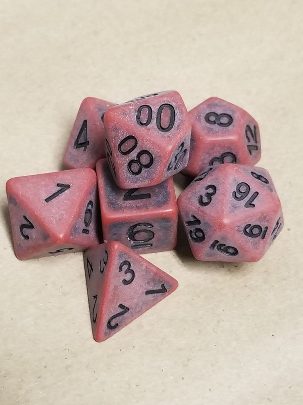 Ancient Red with Faux Black Wearing Poly Dice Set (7) Red Acrylic Black Numbers HDdice