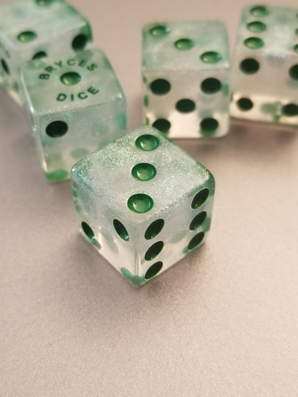 BrycesDice 16mm Glitter d6 (Green) Square Edge [per die]