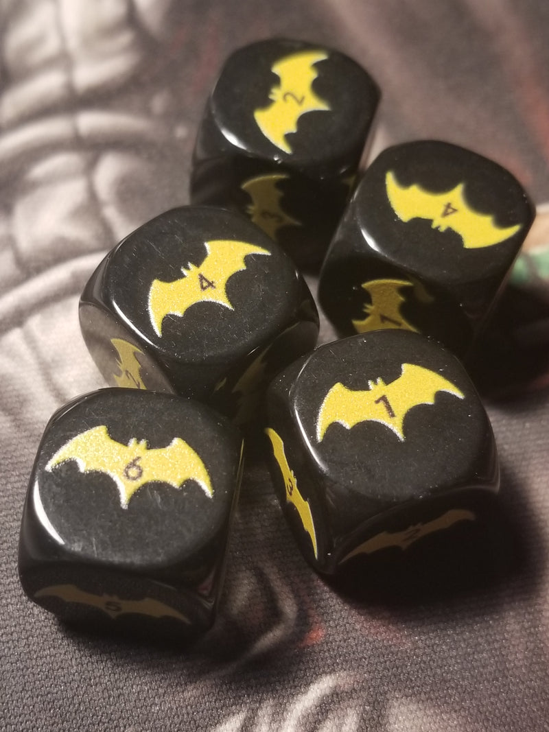 Yellow Bat Black Dice 6 Sided 16mm (Custom Printed)