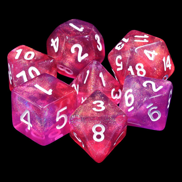 Carbon Stars Pink/Purple Glitter 7-Dice Set by HendgaDice