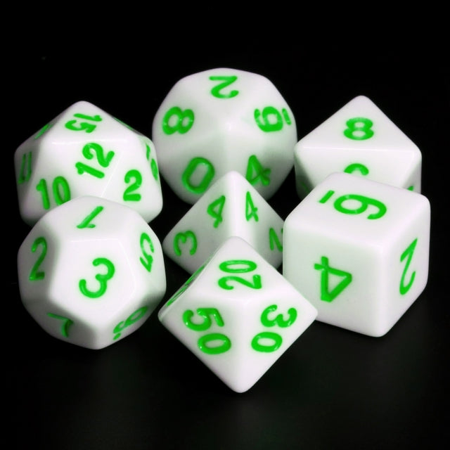 White Opaque with Green Numbering 7-Dice Set RPG
