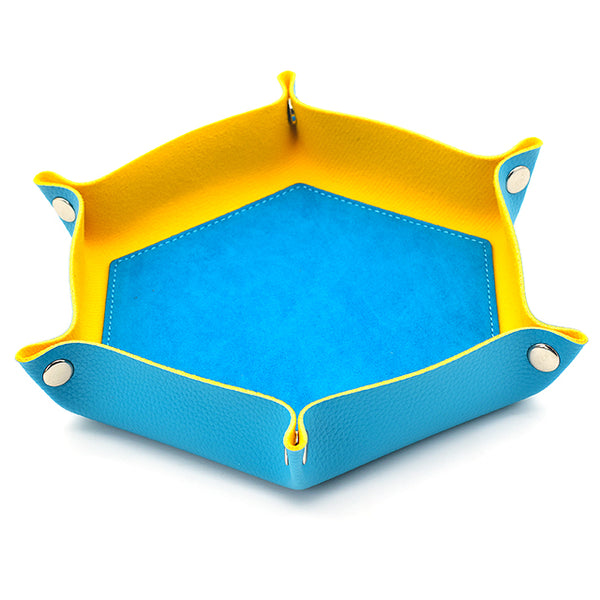 Baby Blue/ Yellow Hex Foldable Flannel Tray