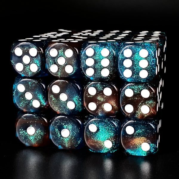 Red & Blue 16mm Glitter Pipped Dice (per die)