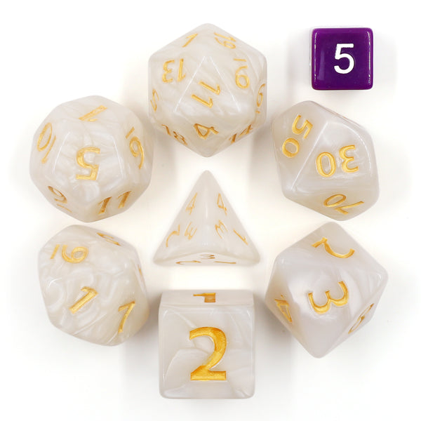 White Giant Pearl Dice (7) RPG Role Playing Game Dice