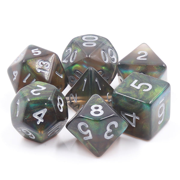 Night Wish: Smoke Grey Glitter Iridescent Effect 7-Dice Set