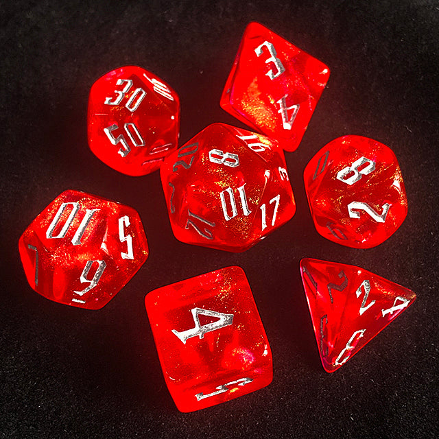 'Glitter Party' Red Glitter Dice (Silver font)