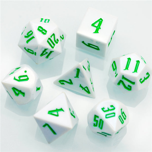 Spearmint White Colorful DND Dice (White&Green) 7-Dice