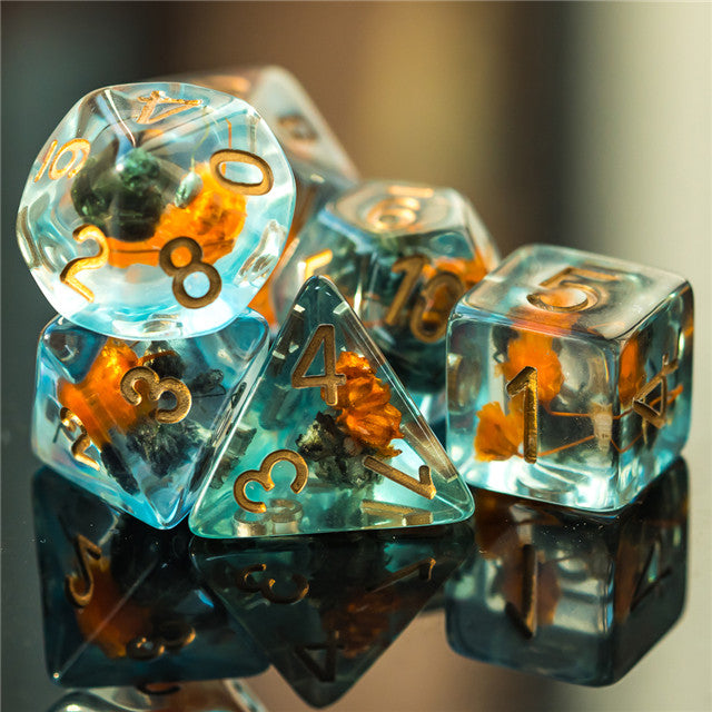 Orange & Grey Flower Dice  7-Dice Set Resin Dungeons and Dragons Dice (Gypsophila / Baby's-Breath)