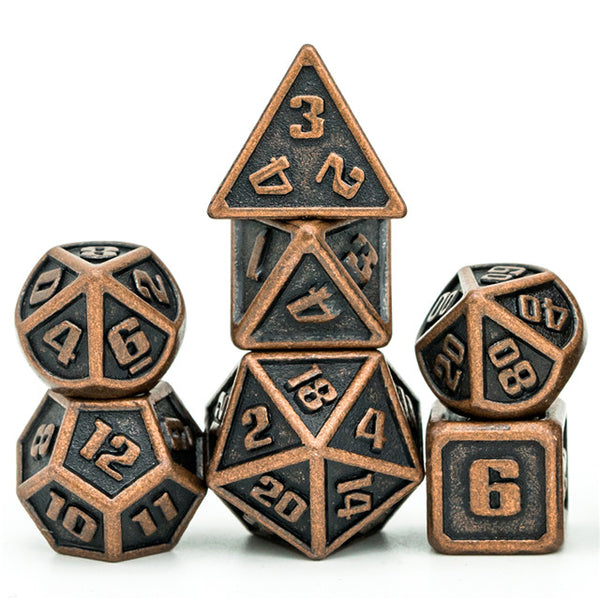 Copper Mini Metal Dice Ancient Effect | (10mm to 15mm) 7-Dice Udixi RPG