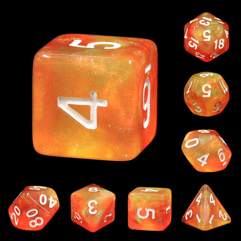 Walking the Sun Orange/Yellow Glitter 7-Dice Set by HendgaDice