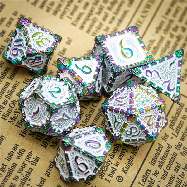 White Rainbow Metal Dice(Dagger of Venom)7-Dice Udixi RPG
