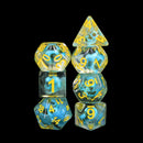 Turquoise Treasure Skull Dice Blue/Yellow Halloween Resin 7-Dice