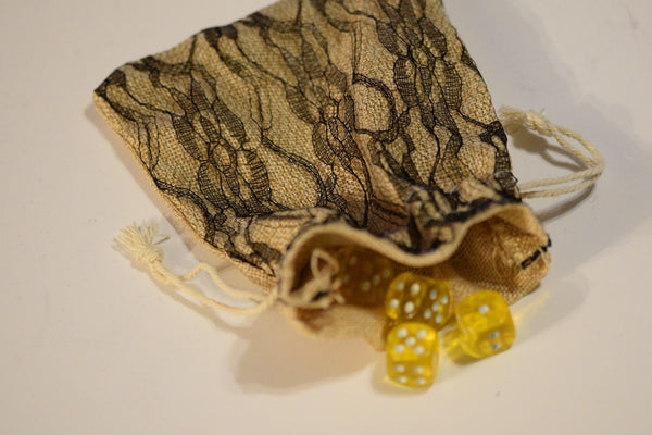 "Burlap w/ Black Lace Gift Bag Cards RPG Game Dice Bag Counter Pouch 5"" x 6.5"""