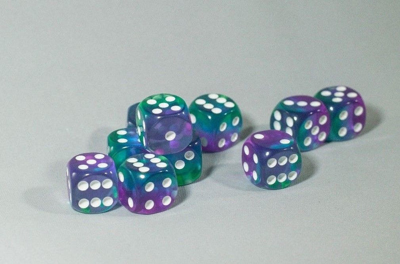 New Blue Aurora Gradient Blue Purple Green 12mm D6 RPG Dice (10) Dice Yahtzee
