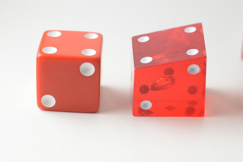 New Set of 2 Large Crooked Red Dice Whacky Crazy Trippy Gag Novelty Funny Gift