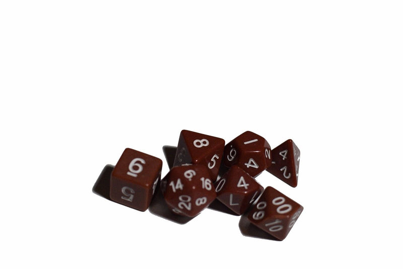 Brown Opaque 7 Die Set Polyhedral Dice by BrycesDice RPG Magic D&D Unique