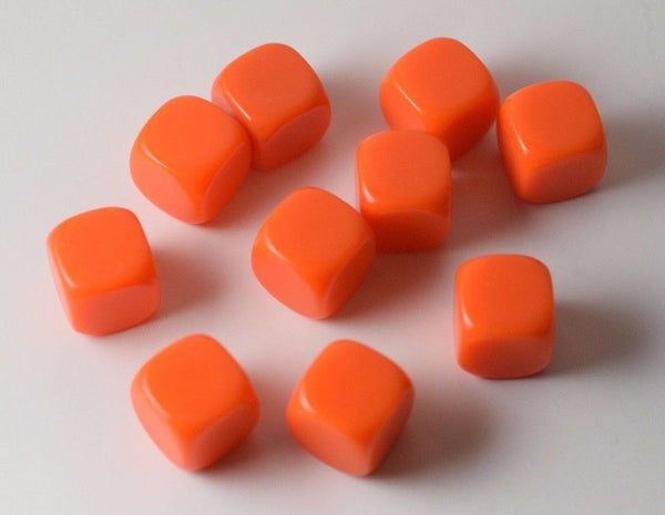 10 Pcs Blank Orange Dice / Counting Cubes 16mm D6 Square RPG Gaming Dice DIY