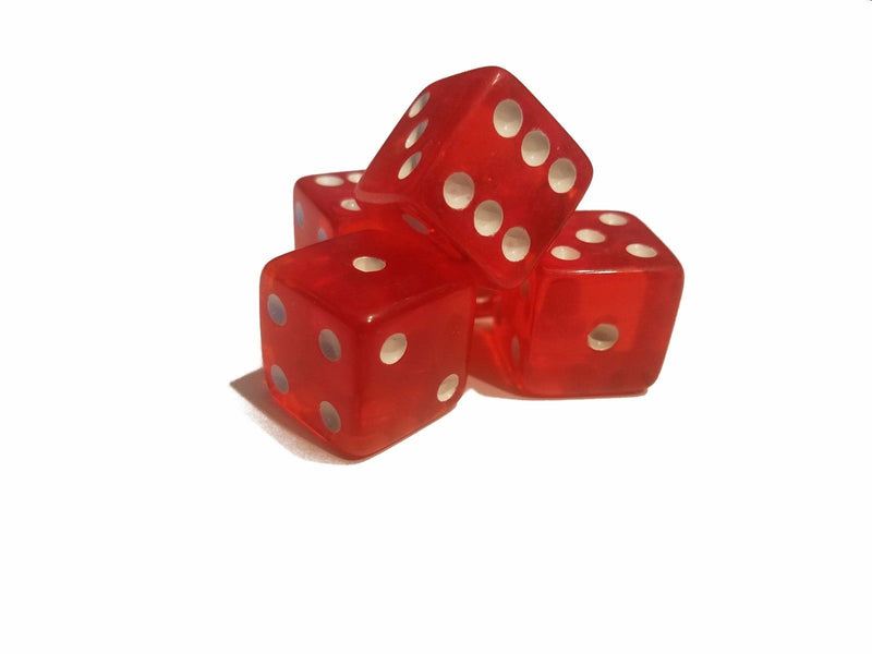 5 BRAND NEW Red DICE 19mm 5 Great DICE Casino PLAY Home Games Crafts BIG FUN