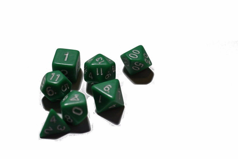 Green Opaque 7 Die Set Polyhedral Dice by BrycesDice RPG Magic D&D Unique Dragon