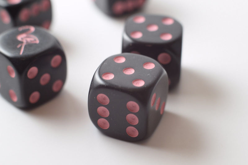 NEW  Black Dice with Pink Flamingo Dice 6 Sided Bunco RPG Game D6 16mm Roll (sold per piece)